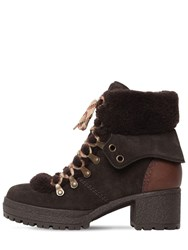 See By Chloe 40Mm Eileen Suede And Fur Ankle Boots Grey