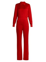 Sonia Rykiel Point Collar Long Sleeved Cady Jumpsuit Red