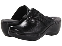 Softwalk Mason Black Vintage Waxy Wrinkled Leather Women's Clog Shoes