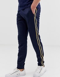 Hollister Leg Logo Side Piping Cuffed Joggers In Navy