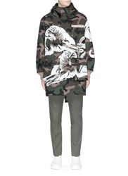 Valentino Panther Camouflage Print Hooded Parka Green
