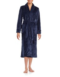 Nautica Textured Fleece Long Robe Navy
