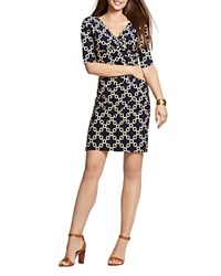 Lauren Ralph Lauren Chain Link Print Dress Lighthouse Navy Yellow Gold