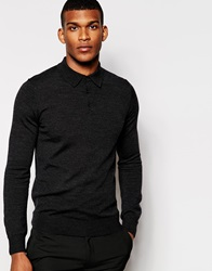 Reiss Merino Wool Long Sleeve Knitted Polo Shirt Charcoal