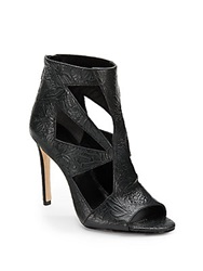 Rachel Roy Lexxi Cutout Embossed Leather Ankle Boots Black