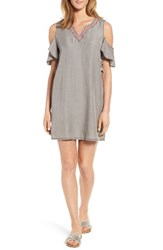 Billy T Women's Embellished Cold Shoulder Chambray Shift Dress Grey