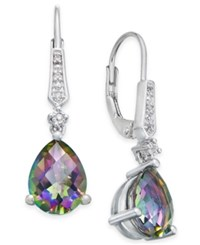 Macy's Gemstone 3 Ct. T.W. And Diamond Accent Birthstone Drop Earrings In Sterling Silver Mystic Topaz