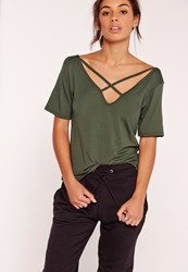 Missguided V Neck Cross Strap Front T Shirt Khaki Beige