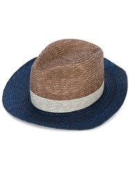 Paul Smith Contrast Panels Hat Men Straw M Blue