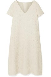 The Row Mattei Embellished Wool And Silk Blend Crepe Midi Dress Ivory