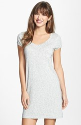 Women's Dkny 'Citi Essentials' V Neck Sleep Shirt Light Gray Heather