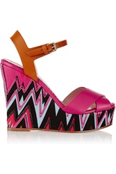 M Missoni Embroidered Canvas And Leather Wedge Sandals Pink