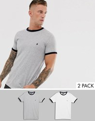 French Connection 2 Pack Ringer T Shirts Gray