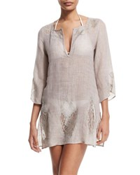 Flora Bella Wynn 3 4 Sleeve Lace Inset Tunic Coverup Pechino