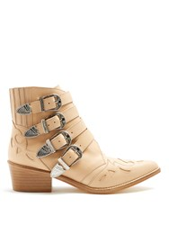 Toga Buckle Leather Ankle Boots Beige