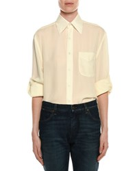 Tom Ford Light Washed Twill Button Front Blouse Ivory