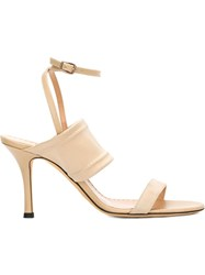 Alexa Wagner Ankle Strap Stiletto Sandals Nude And Neutrals
