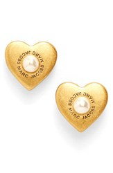 Marc By Marc Jacobs Women's Faux Pearl Heart Stud Earrings