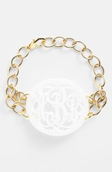 Women's Moon And Lola 'Annabel' Large Oval Personalized Monogram Bracelet Snow Gold Nordstrom Exclusive