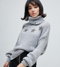 River Island Roll Neck Sweater With Stars In Gray Gray