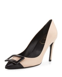 Roger Vivier Sexy Choc Buckle Leather Pump Nude Black Women's Nude Blk