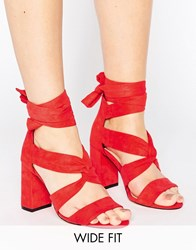 Lost Ink Wide Fit Red Knot Tie Up Heeled Sandals Red