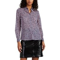 Barneys New York Heart Print Cotton Voile Blouse Pink