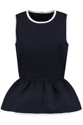 Mother Of Pearl Finch Cotton Twill Peplum Top Midnight Blue