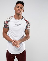 Illusive London T Shirt In White With Floral Sleeves
