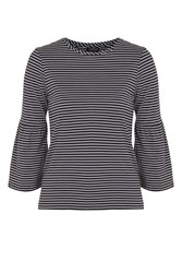 Topshop Tall Stripe Bell Sleeve T Shirt Navy Blue
