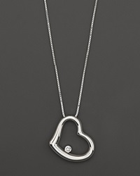 Roberto Coin Heart Pendant Necklace With Diamond Accent In 18 Kt. White Gold No Color