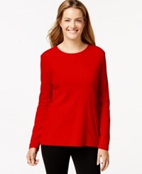 Styleandco. Style And Co. Long Sleeve Crew Neck T Shirt New Red Amore