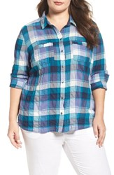 Caslonr Plus Size Women's Caslon Long Sleeve Crinkle Cotton Shirt