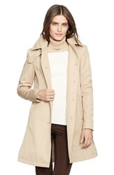 Petite Women's Lauren Ralph Lauren A Line Raincoat Racing Khaki
