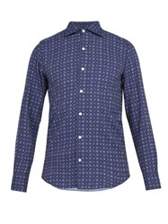 Finamore 1925 Geometric Print Washed Cotton Shirt Blue