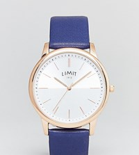 Limit Navy Leather Watch Exclusive To Asos