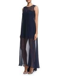 Milly Sleeveless Illusion Overlay Gown Navy