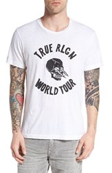 True Religion Men's Brand Jeans Lightning Skull Graphic T Shirt White