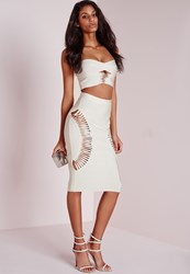 Missguided Bandage Cut Out Side Midi Skirt White Ivory