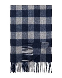 Bloomingdale's The Men's Store At Cashmere Buffalo Check Scarf Navy Grey