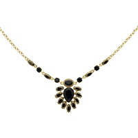 Monet Hematite And Crystal Teardrop Statement Necklace Gold