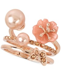 Inc International Concepts M. Haskell For Rose Gold Tone 2 Pc. Set Flower Imitation Pearl And Butterfly Rings Only At Macy's