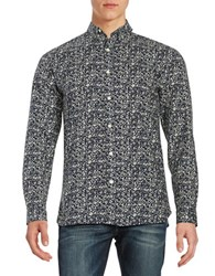 Selected Printed Cotton Sportshirt Eclipse Blue