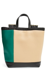 Marni Colorblock Leather Backpack Bayberry Green