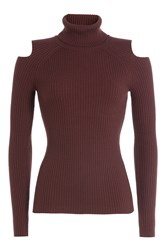 Theory Wool Turtleneck Pullover With Cut Out Shoulders Red