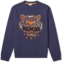 Kenzo Tiger Embroidered Crew Sweat Blue