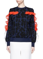 Toga Archives Ruffle Trim Leopard Jacquard Sweater Blue Multi Colour