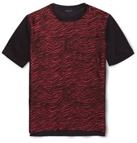 Lanvin Zebra Print Satin And Cotton T Shirt Red