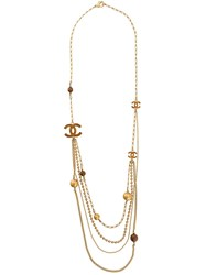 Chanel Vintage Layered Logo Long Necklace Gold