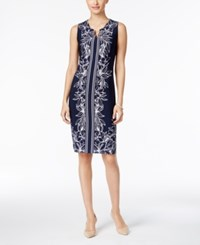 Jm Collection Petite Printed Chain Neck Sheath Dress Only At Macy's Blu Trop Foliag